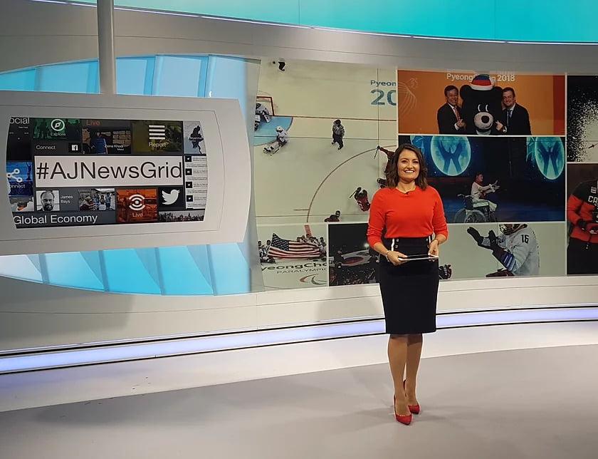 Joanna Gasiorowska TV presenter in the studio